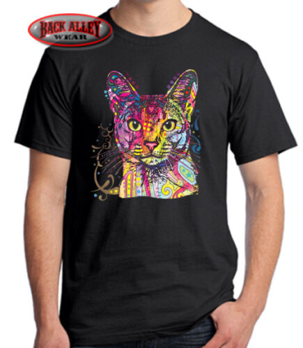 ABYSSINIAN T-SHIRT Cat Tee ~ Colorful Neon Feline ~ Cool Design