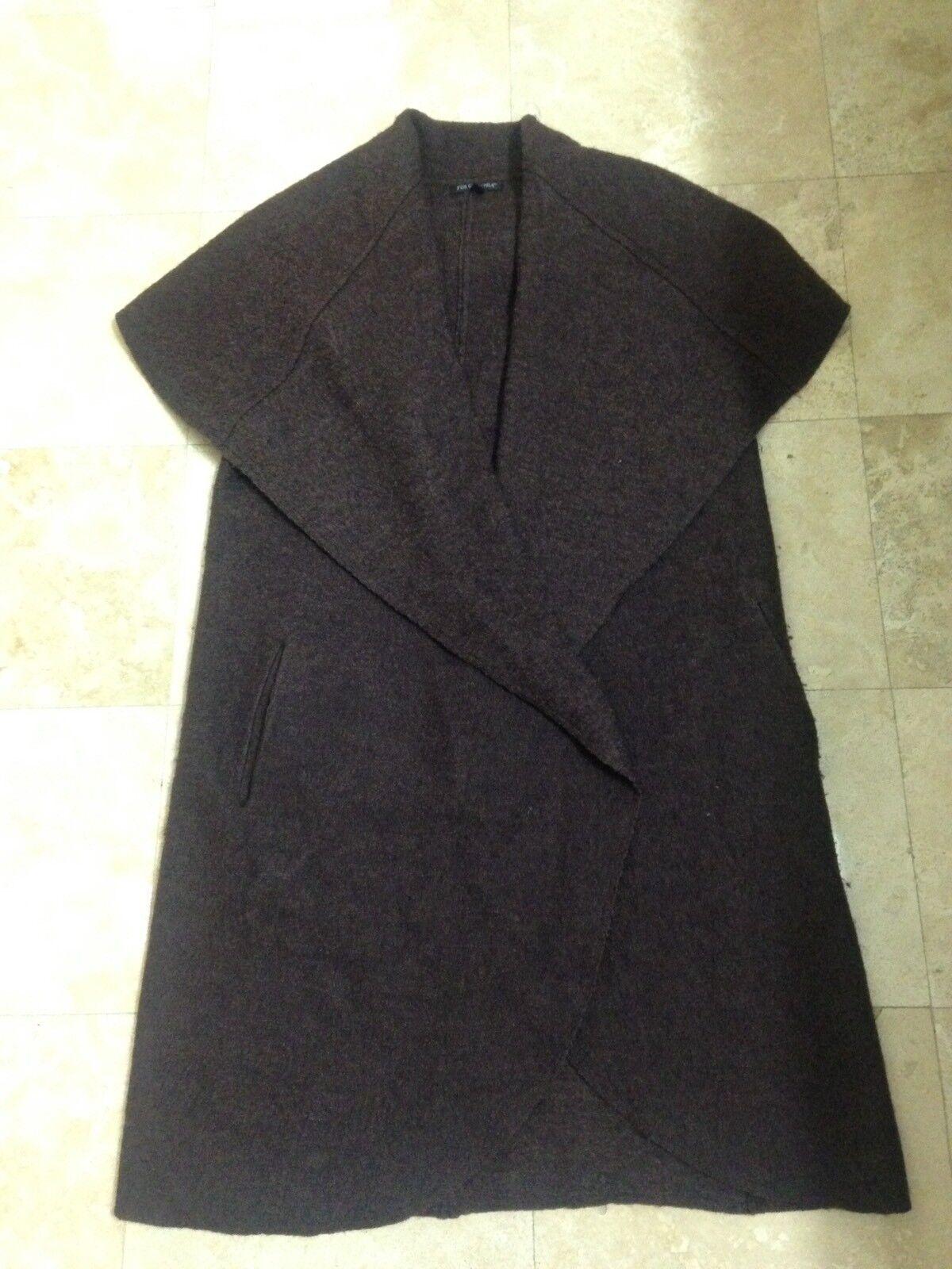 FOR CYNTHIA Long Brown Shawl Collar Sleeveless Wool Blend Vest