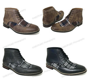Mens Ankle Boots Wing Tip 2-Tone Plaid Lace Up Leather Lined Oxfords Dress Shoes