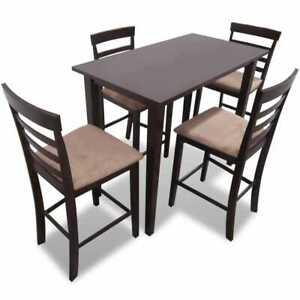 Detalles de vidaXL Set conjunto mesa de bar madera con 4 sillas comedor  cocina, Marrón