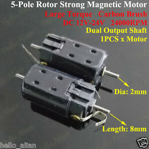 Dc 12v 24v high speed magnetic double shaft 5 pole rotor for Double ended shaft electric motor