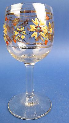 Likör-bzw. Weinglas. Um Ca 1900,aufgelegterblüten Aus Emaille,goldrand, Rar!