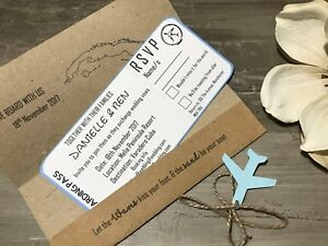 Boarding Pass Wedding Invitations.Details About Handmade Personalised Passport Boarding Pass Wedding Invitations Free Envelopes