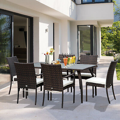 Outsuny 7PC Rattan Dining Set Chair Wood Top Dining Table Wicker Furniture Brown