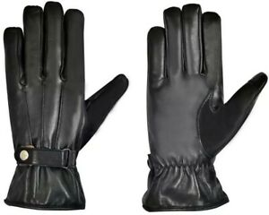 Mens-100-Leather-Black-Touch-Screen-Soft-Fleece-Lined-Driving-Thermal-Gloves