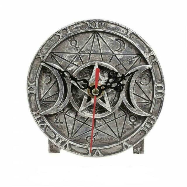 Alchemy Gothic Wiccan Desk Clock - Magic Symbols Pagan Witchcraft Triple Moon