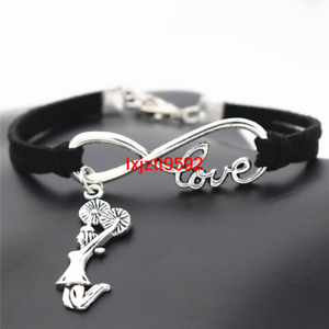 2f23c698e17ed Details about Silver Infinity Love Cheerleader Cheer Charms Bracelet  Bracelets Women Black
