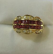 14k Solid Yellow Gold Ring 3.25CT Natural Red Sapphire Size 7.75