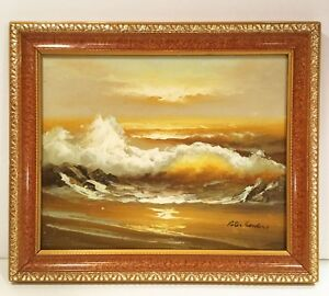 Original-oil-painting-Ocean-seascape-Signed-Peter-Sanders-10-034-X-11-034-framed