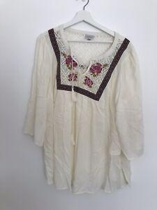 Damen-Elfenbein-Gr-18-Kaftan-Style-Top-lt-aa743