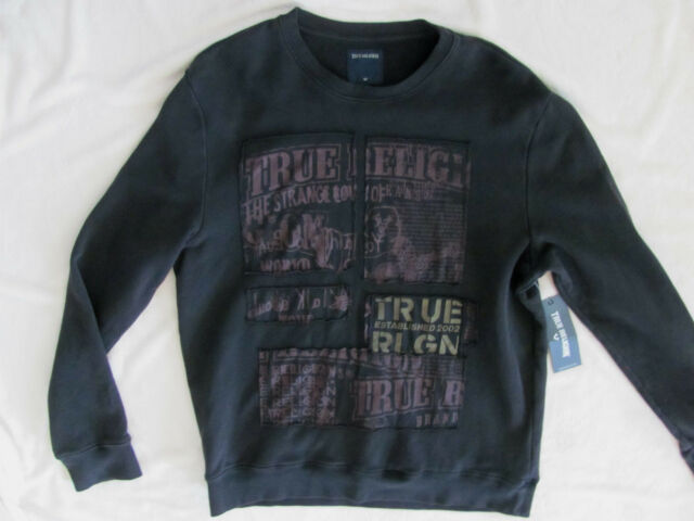 6a46b1a20 True Religion Pullover Crewneck Buddha Sweatshirt-Used Black-Men s Med- NWT   159
