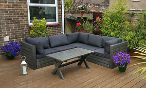 Wooden Garden Corner Sofa Set Outdoor Patio Conservatory