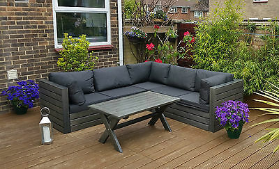 WOODEN GARDEN CORNER SOFA SET,OUTDOOR PATIO CONSERVATORY FURNITURE TABLE  BENCH | eBay