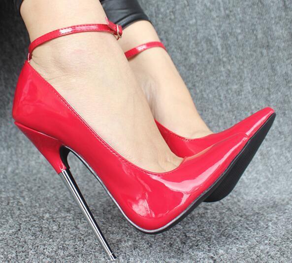 Sz36-46 para mujer Super Super Super Sexy travesti Bombas Zapatos Taco Aguja Con Tiras 18cm  70% de descuento