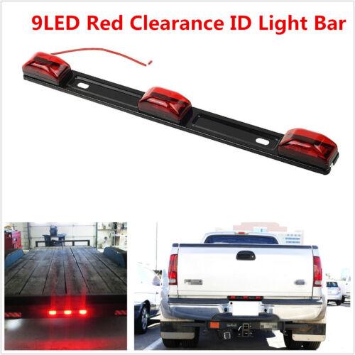 Waterproof Red Clearance ID Brake Marker Light 3 Light 9 LED For Car SUV Trailer