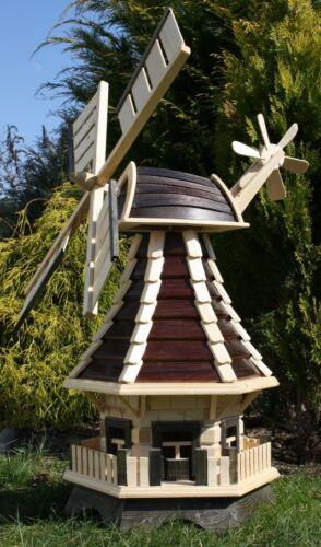 Holzwindmühle mit Solar braun//natur Typ 1