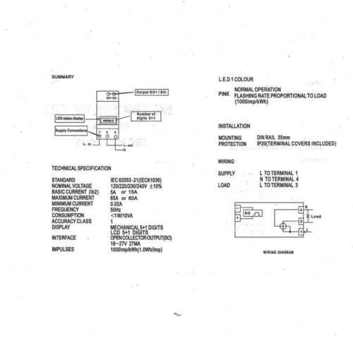120VAC 60Hz Single Phase DIN-rail Kilowatt LED Hour kwh Meter CE Proved 5 65A