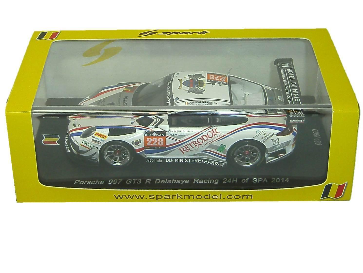 Porsche Porsche Porsche 997 gt3 R DELAHAYE Racing 24 h of Spa 2014 Spark 1:43 sb084 NEUF | Au Premier Rang Parmi Les Produits Similaires  359daf