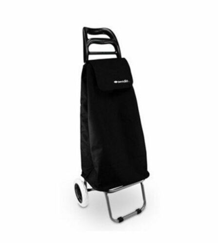 NEW D.LINE SHOP /& GO MODE SHOPPING TROLLEY BLACK LIGHTWEIGHT COMPARTMENT METAL