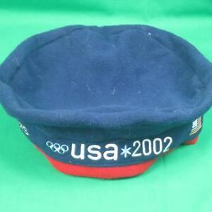 ROOTS-OFFICIAL-2002-SALT-LAKE-WINTER-OLYMPICS-USA-TEAM-BLUE-FLEECE-BERET-HAT-CAP