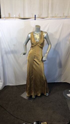 Unbranded Halter  Maxi Yellow Dress Cut Out Back