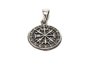 Kompass-Muster-Vegvisir-Wikinger-Anhaenger-925er-Silber-Symbol-Schmuck-Neu