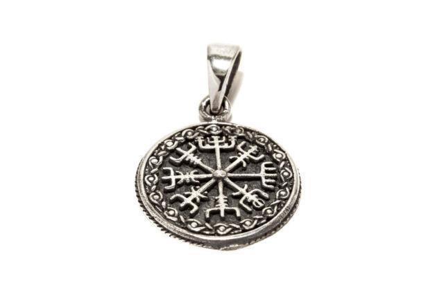 Kompass Muster Vegvisir Wikinger Anhänger 925er Silber Symbol Schmuck - Neu