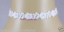 Handmade White Guipure Lace Flower Rose Choker Necklace Gothic Bridal Wedding