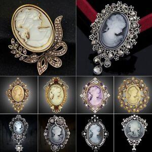 Retro-Jewelry-Cameo-Crystal-Brooch-Pin-Flower-Women-Lady-Wedding-Bridal-Gifts