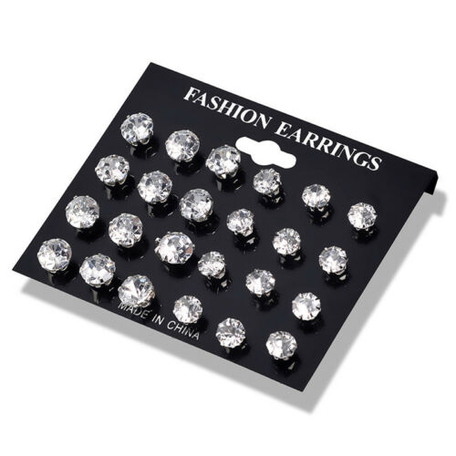 Exquisite Zircon Crystal Rhinestone Ear Stud Earrings Girls Fashion Jewelry Gift