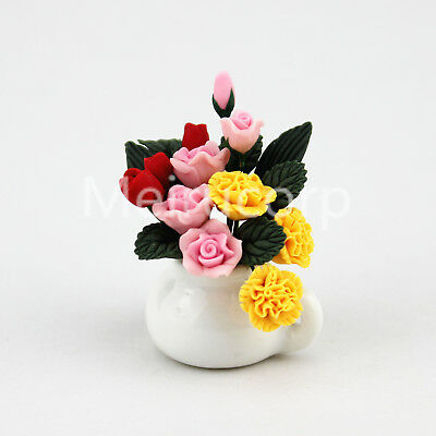 1:12 doll house miniature clay flower yellow//pink rose Low Price