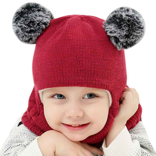 Toddler Kids Baby Boy Girl Hooded scarf Caps Hat Winter Warm Knit Flap Cap Scarf