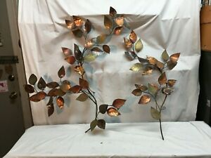 Vintage-Mid-Century-Brass-Copper-Wall-Sculpture-Dog-Wood-Leaves-2-Stems