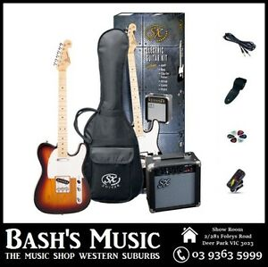 SX-Telecaster-Electric-Guitar-Starter-Package-with-Amp-Tuner-Bag-3-Tone-Sunb