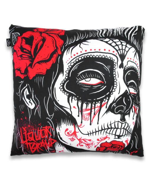TATTOO GYPSY ROSE DAY OF THE DEAD CUSHION COVER LIQUOR BRAND ROCKABILLY GOTH