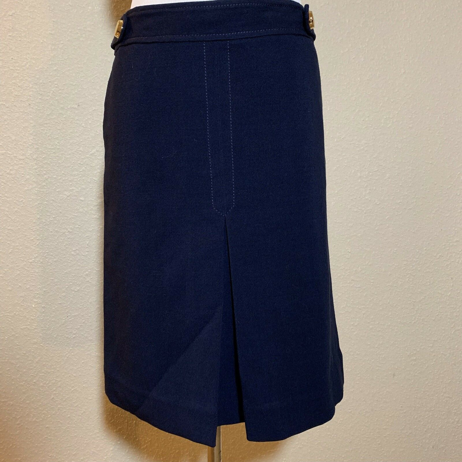 VTG Lilly Pulitzer Navy bluee Front Pleat A-line Skirt Womens Size 8 Ro