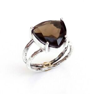 Smokey gemstone ring 925 sterling silver ring