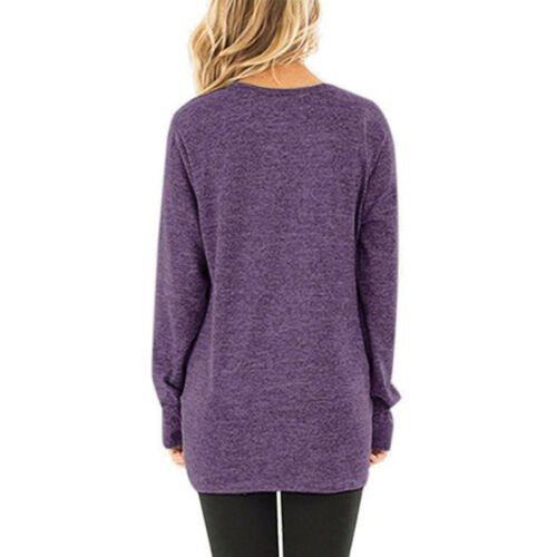 Women Fall O Neck Long Sleeve T Shirt Casual Solid Blouse Loose Tunic Basic Tops