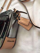 Coach Poppy Mirror Silver Pewter Metallic Leather Flight Crossbody Shoulder Bag