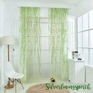 Image Is Loading Green Pink Yellow Willow Leaf Sheer Curtain Fabric