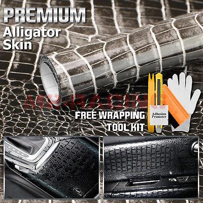 *Premium 3D Alligator Skin Reptiles Leather Vinyl Wrap Sticker Decal Bubble Free