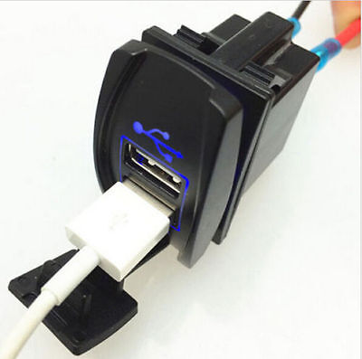 BLUE Power DC 12V-24V Dual USB Car Charger Carling ARB Rocker Switch 5V 3.1A