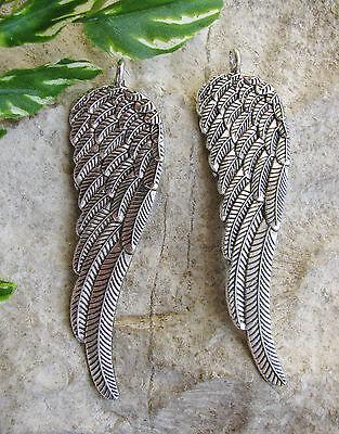 2 Metallanhänger, Flügel, 8cm in silber, Anhänger, Schmuck mit Perlen basteln