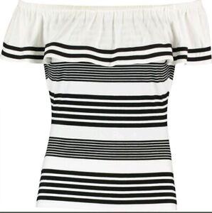 1bf0d2240f9fb8 BNWT - KAREN MILLEN Black Stripe Monochrome Bardot Top - Size UK 16 ...