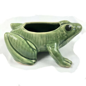 Vintage-Frog-Planter-Pottery-Green-Frog-Garden-Perfect-McCoy-Or