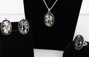 100% QualitäT Schmuckset Damen Ohrringe, Kette, Ring Gefleckter Harz-stein Silber 3 Tlg.