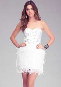 bebe white isis sequin ostrich feather strapless bustier