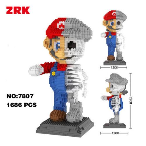 ZRK Super Mario Red Dissection Skeleton DIY Diamond Mini Building Nano Block Toy