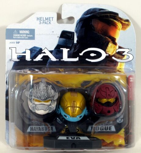 McFarlane Toys Halo 3 Mini Helmet 3-Pack - HAYABUSA, EVA, ROGUE - Sealed #X