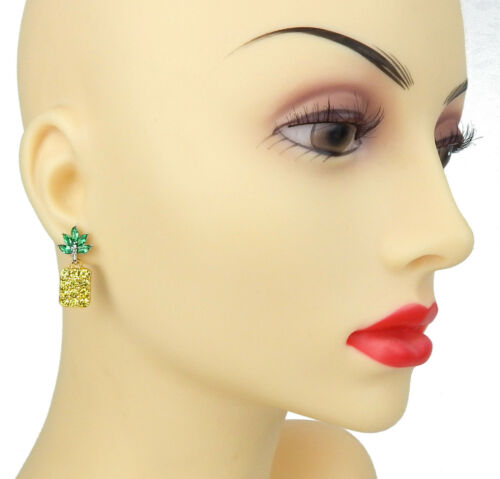 Ohrringe Ananas gelb grün Strass Ohrstecker Ella Jonte pineapple earrings new in